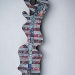Biotec No 8, Collage, Sperrholz auf Kantholz montiert, Höhe 100 cm x größte Breite 25 cm