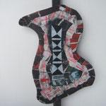 Biotec No 6, Collage, Sperrholz auf Kantholz montiert, Höhe 67 cm x größte Breite 34 cm