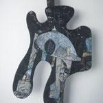 Biotec No 17, Collage, Sperrholz auf Kantholz montiert, Höhe 60 cm x größte Breite 33 cm