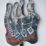 Biotec No 19, Collage, Sperrholz auf Kantholz montiert, Höhe 74 cm x größte Breite 46 cm