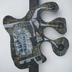 Biotec No 11, Collage, Sperrholz auf Kantholz montiert, Höhe 70 cm x größte Breite 50 cm