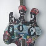 Biotec No 16, Collage, Sperrholz auf Kantholz montiert, Höhe 62 cm x größte Breite 40 cm