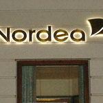 Lichtwerbung Nordea Profilanlage hinerleuchtet