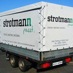 Anhängerbeschriftung auf Plane Messebau Strothmann