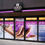 Digitaldruck Schaufensterfolierung Coco Nailspa