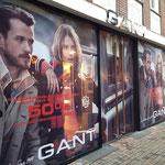 Ladenlokal Gant Digitaldruck Sichtschutz Räumungsverkauf