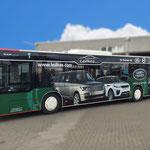 Busbeschriftung Vollverklebung Digitaldruck Landrover Leifkes Münster Buslinie Lochfolie