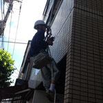 無足場工法でタイル面調査5