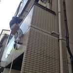 無足場工法でタイル面調査1