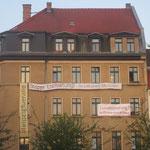Geschmücktes Haus,Stoppt Entmietung, Reclamstraße 51, Leipziger Osten, Sachsen, eine Stadt für alle