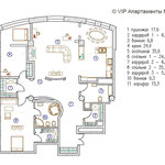 План квартиры с расстановкой мебели. ЖК Квартал, трехкомнатная квартира в аренду.