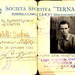 1949-50. Cartellino Ternana di Mirabelli (Donazione archivio Mirabelli)