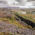 Thingvellir- Eurasische und amerikanische Kontinentalplatten treffen hier aufeinander