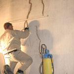 Detailfoto: Risssanierung im Bereich der Wandflächen.