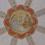 Detailfoto Gewölbebemalung im Endzustand mit Rekonstruktion der Gratbänder  gemäß festgestellter originaler Befundlage