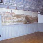 Rathaussaal im Endzustand mit vollständig rekonstruierter ursprünglicher Bemalung - Alte historische Stadtansicht von Warburg - Restauratorische Leistungen – Oberflächenreinigung - Fassungsfestigung und lokale Farbretuschen.
