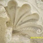 Teilfreigelegte und dokumentierte Werkstein-Nische in der Nord-fassade, als Bestandteil des  Fassadendekors aus der barocken  Blütezeit des Klosters.
