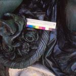 Detailfoto nach der erfolgten Abnahme von Korrosionsschichten und einer metallrestauratorischen Weiterbehandlung.