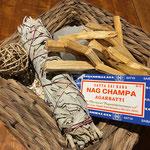 sauge blanche, palo santo, nag champa