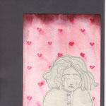 """""""Corazón roto"""" Gebrochenes Herz. 24x18,3cm. Bleistift auf Papier,Tinte auf Aquarellpapier auf Fotokarton."""