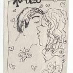 """""""1er beso"""" 1er Kuss. 15x10cm. Fineliner auf Papier."""
