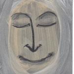 """""""Cara feliz 004"""" 15x11cm   Gesso, pintura de pared,  grafito acuarelable sobre cartolina. 2013"""