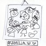 """""""Familia"""" Familie. 16,5x13,2cm. Fineliner auf Papier."""