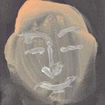 """Cara feliz 003"" 15,2x11cm  Gesso, pintura de pared sobre cartolina. 2013"
