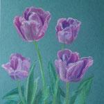 """""""Тюльпаны Виолет"""".  Размер: 30x40 см Материал: Тонированная бумага, пастель Оформление: Нет/по желанию Продается Цена: 3000 руб."""
