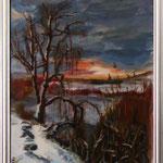 """""""Зимний пруд"""" Размер: 30x40 см Материал: картон, акрил. Оформление: в раме под стеклом Продается Цена: 3000 руб."""