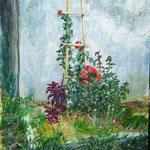"""""""Розовый куст и стена"""" Размер: 25x35 см Материал: Картон, акрил.  Оформление: Рама под стеклом с паспарту/или по желанию Продается Цена: 3000 руб."""