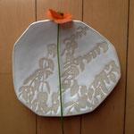 夏草のお皿 約16×15cm