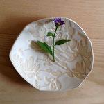 秋草のお皿 約16×15cm