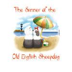 disegno di 2 cani bobtail che prendono il sole sulla spiaggia, è estate!