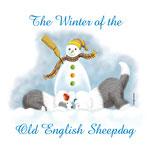 disegno di 2 bobtail che scavano una buca nella neve, con testimone un pupazzo di neve, è inverno!