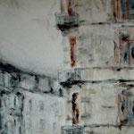 Dresden, Ecke Rothenburger, Mischtechnik auf Leinwand, 100 x 50