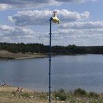 alltäglich - WASSER - unerreichbar, ca. 7 m, Stahl/Bauschaum/Farbe, Transnaturale am Bärwalder See 2008