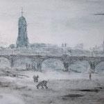 Am Elbufer I, Mischtechnik auf Leinwand, 40 x 80, 2019