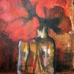 Klotschmohn im Glas, Acryl auf Leinwand, 20x30cm (VERKAUFT)