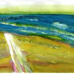 Zeeland - Am Meer, Ecoline, Aquarellpapier, ca. A4, 2014 -VERKAUFT-