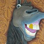 1枚の革からの立体壁掛け「笑う角には馬来たる!」
