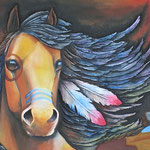 NATIVE HORSE 1枚の革からの立体壁掛け