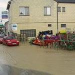 Das Lagerhaus in Böheimkirchen wurde überflutet.