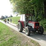 Der gefällte Baum wird mittels Traktor und Anhängerdeichsel nach Kasten gebracht.