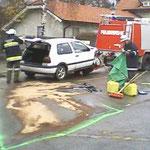 Ausgeflossenes Öl und Kühlerflüssigkeit wurden gebunden.