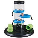 Gambling Tower – De drie blauwe lades hebben ieder een lus, waaraan uw hond kan trekken, zodat de snoepjes naar beneden vallen.
