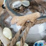 Windlicht Teelicht  Schwemmholz Deko mit Sisalschnur, Perlen, Schwemmholz und Muscheln