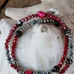 Zweireihiges mehrsträngiges Perlenarmband Perlenkette Armkette Armband www.cacuzza.ch mit roten facettierten und weissblauen Glasperlen, Metallrondellen, Zuchtperlen und braunen Glasperlen