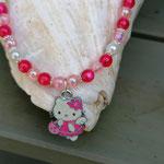 Kinder Mädchen Halskette Perlenkette Pretty Cat mit pinken, rosa und weissen Acrylperlen, silbernen Blumenrondellen, Anhänger Hello Kitty pinkweiss