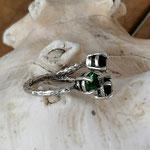 Fingerring Ring Calen Antiksilber Messing mit Dark Moss Green & Jet 6mm Swarovski Steinen verstellbar